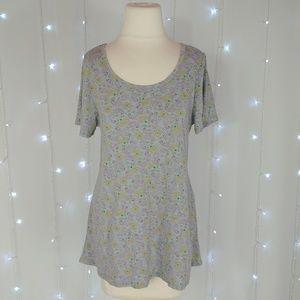 LuLaRoe Gray Floral Classic T Shirt
